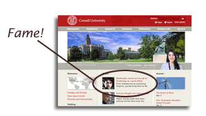 screenshot of Cornell homepage with Macaulay library featured
